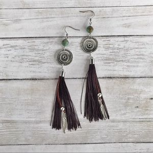 Hand Crafted Tassel and Turquoise Earrings